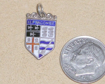 Vintage Signed Silver Ilfracombe Travel Shield Charm Or Pendant 1960's Jewelry  A5