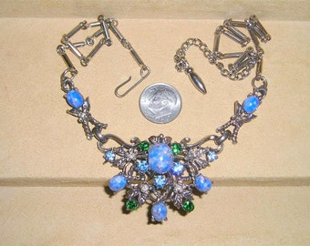 Vintage Blue Green Rhinestone  Faux Turquoise Necklace 1960's Jewelry 992
