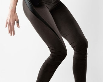 Summer Sale SLU twisted faux suede leather leggings / Tights skinny pants / Dark brown with black inserts / extra long