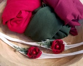 Red Headband Burgundy & Red Christmas Photo Props Newborn Photo Prop RTS Tieback Headband Jersey Tieback