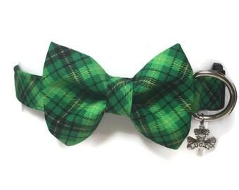 St. Patty's Plaid Bow Tie Dog Collar size Medium