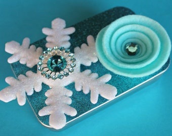 Christmas Gift Card Holder, Keepsake Mini Altered Tin, Turquoise Snowflake