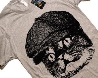 Mens Cat in a Hat T Shirt / American Apparel T-shirt / S M L XL 2X