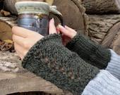 Hand Knit Wool Wrist Cuffs / Forest Green / Handwarmers