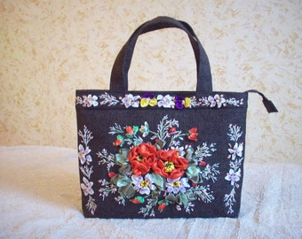 Embroidered ribbons  roses bag floral women gift