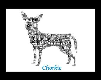 Chorkie,Chorkie Art, Chorkie Artwork, Custom Chorkie Print, Personalize Chorkie, Chorkie Pet Gift, Chorkie Print, Chorkie Memorial