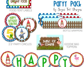 Gnomeo and Juliet Party Pack,  Garden Party - Gnome Cupcake Toppers, Food Labels, Favor Tags, Party Signs, Water Bottle Wrappers - PRINTABLE