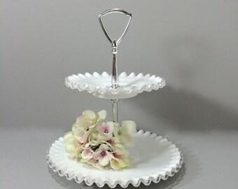 Fenton 2 Tiered Glass Dessert Stand, Silver Crest Milk Glass Tidbit Tray, Serving Tray, 1960s, Mid Century Modern Wedding Table