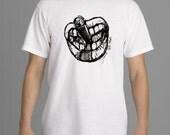 Gift, Smokin T-Shirt, Short Sleeve White Mens T-Shirt, Graphic Sketch T-shirt, small to XL