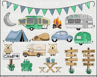 Camping Clipart and Graphic Set, Camping Adventures, Travel Clipart, Vacation Clipart, Summer Clipart - Digital Scrapbooking Kit
