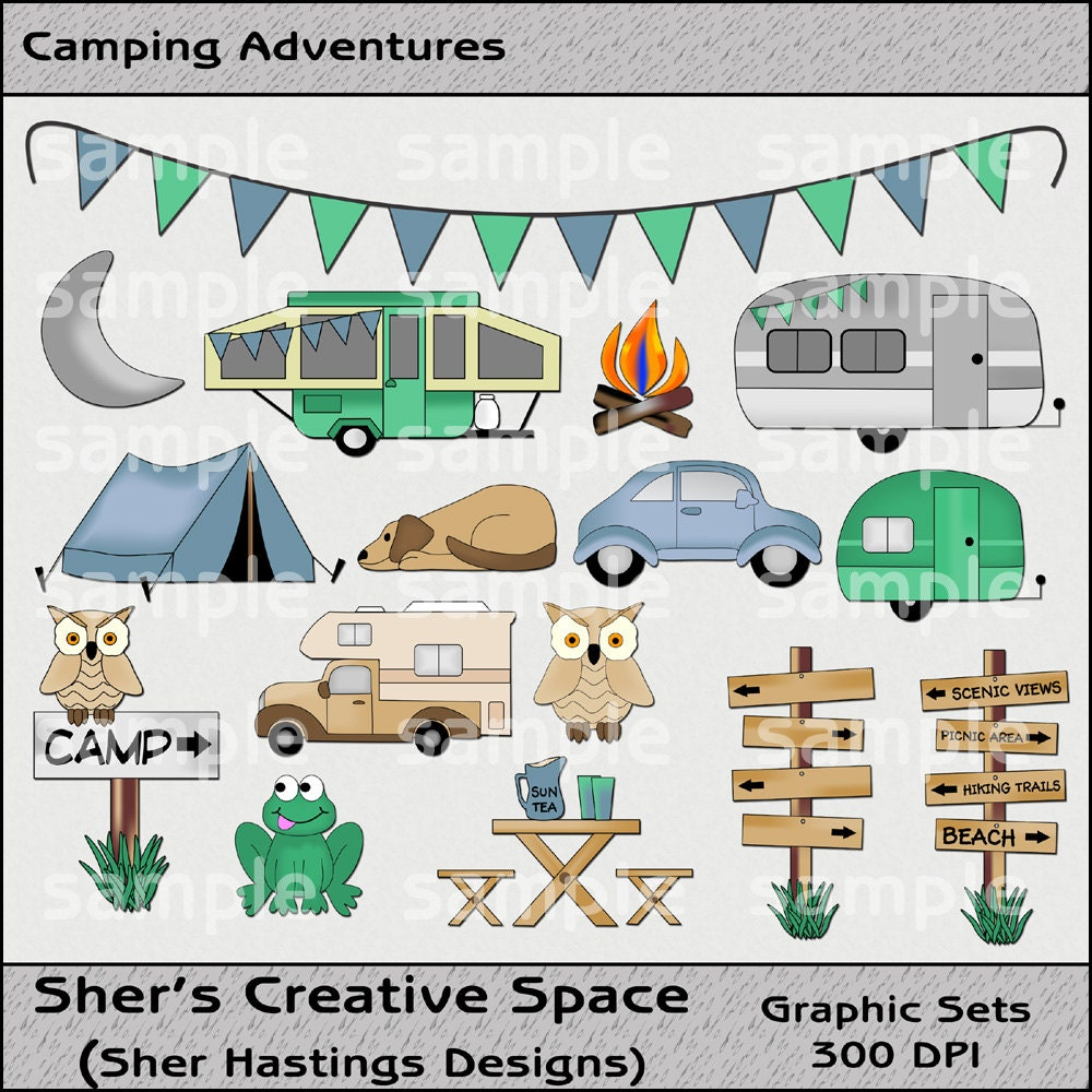 Camping Clipart And Graphic Set Camping Adventures Travel