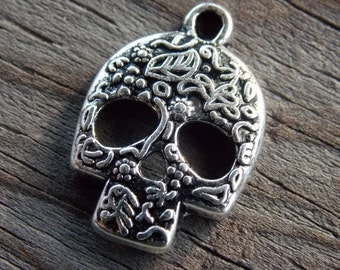 10 Silver Sugar Skull Charms 24mm Antiqued Silver Day of the Dead Charms