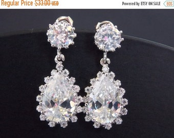 SALE Wedding Earrings, Bridal Earrings, Wedding Jewelry, Cubic Zirconia, Glass, Crystal, Silver Earrings, Weddings, Bride Earrings
