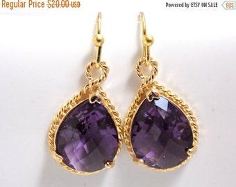 SALE Purple Earrings, Glass Earrings, Amethyst, Tanzanite, Gold Earrings, Bridesmaid Earrings, Bridal Earrings, Bridesmaid Gifts