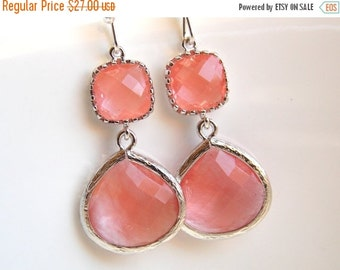 SALE Coral Earrings, Peach Earrings, Grapefruit, Pink, Silver, Glass, Bridesmaid Jewelry, Bridesmaid Earrings, Bridal Jewelry, Bridesmaid Gi
