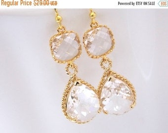 SALE Gold Crystal Earrings, Clear Earrings, Glass, Bridesmaid Jewelry, Wedding Jewelry, Bridesmaid Earrings, Bridal Jewelry, Bride Earrings