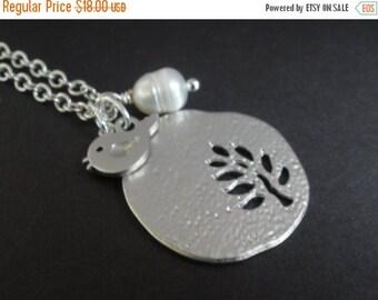 SALE Bird Necklace, Tree Necklace, Silver Necklace, Leaf Necklace, Matte Silver Bird, Birdie, Sparrow, Tree of Life, Leaf, Silver Necklace,