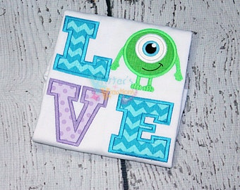 Monsters Inc Mike Wazowski Inspired LOVE Embroidered Applique Shirt