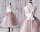2017 Off White Dusty Rose Junior Bridesmaid Dress, Square Tulle Flower Girl Dress, A Line Puffy Dress Tea Length (ZK083)