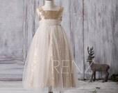 2016 Off White Soft Tulle Junior Bridesmaid Dress Long, Golden Sequin Flower Girl Dress, Square Neck Children Dress (LK117)