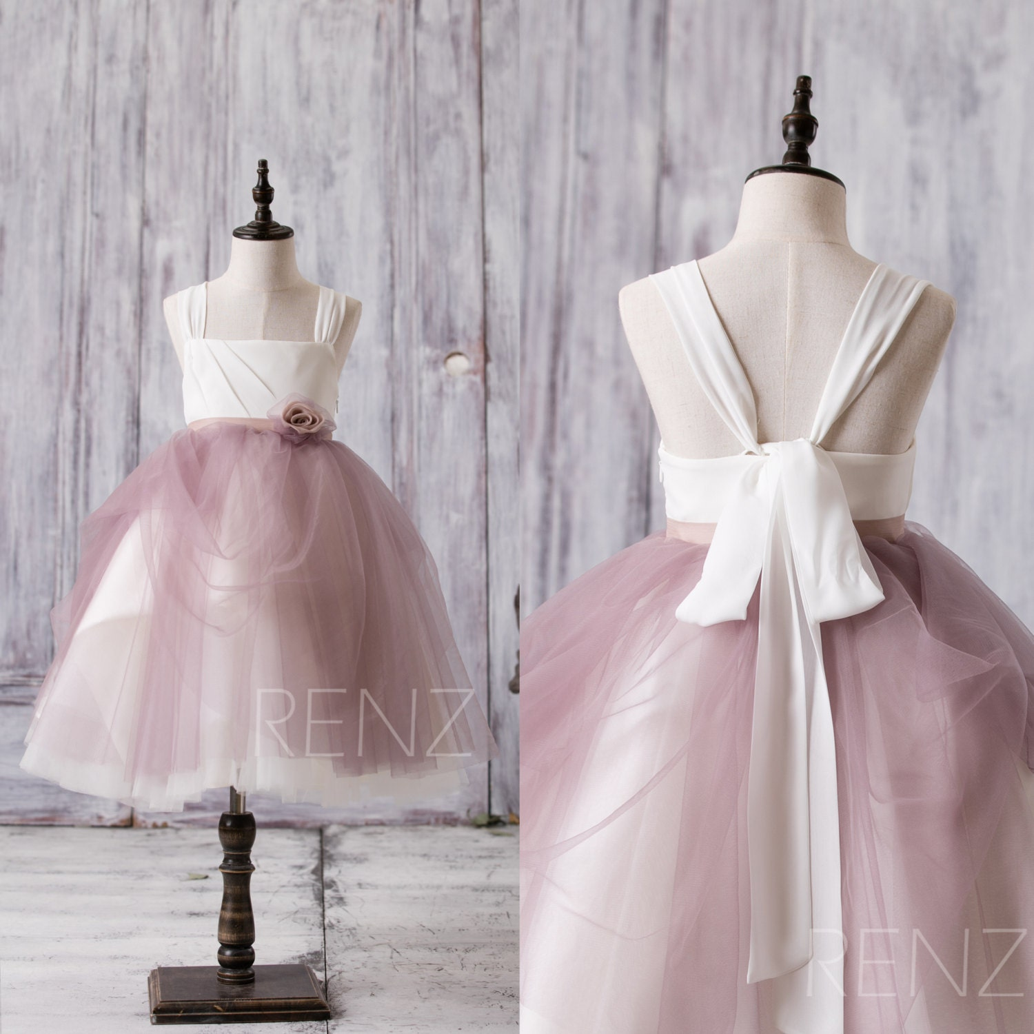 Off white dark mauve junior bridesmaid dress square tulle zoom ombrellifo Gallery