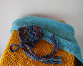 Rustic Yellow Chunky Mini Blanket/ Teal Mohair Wrap/ Newborn Bonnet Set Photo Prop, READY TO SHIP