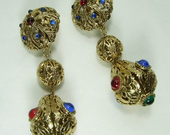 1970s Renaissance Style Runway Earrings Signed Craft Jeweled Statement