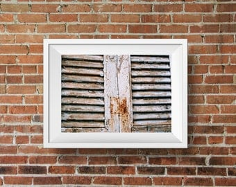 Rustic blue shutters, closed window, weathered window wall art, shabby chic home decor, Greek countryside, fine art photography
