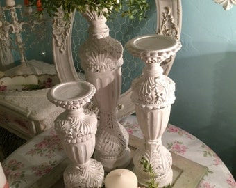 French Nordic candle holders distressed in white and tan Anne Sloan