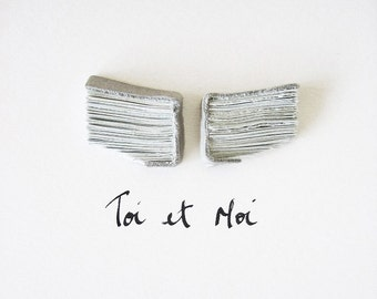 Wing Art - Toi et Moi (You and Me) - Original Book Art, handmade books for dreamers, 3D wings, flying, ink, urban chic, love, 6x6, 15x15