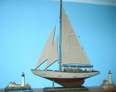 """Wooden Ship Model- Deep Shoal Blue Water YACHT 20"""" Tall- Loaded with Details!"""