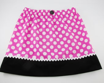 """Minnie Mouse Ladies Women's Adult Skirt Girls Size 10 up to size Ladies Size 16/waist 36"""" - Pink & White Polka Dots - Costume-Ships Priority"""