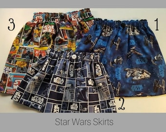 Star Wars Girls Skirt - Girls Costume Dress Up Vacation Birthday Outfit - Star Wars Fabric - Avail Size 3 mth to Adult