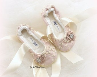 Girl Flats,Rose, Blush,Flower Girl,Lace Flats,Ballet Slippers,Ballet Flats,Toddler Shoes,Bat Mitzvah,Confirmation,First Communion,Prom Shoes