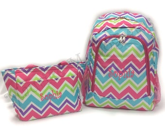 SALE Personalized Multi Chevron Backpack and Lunch Tote Set  Zig Zag Full Size Bookbag and Lunch Bag  Monogram FREE