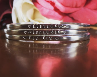 Gorgeous Sister Handstamped Stacking Bangle