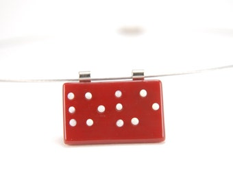 Red Braille fused glass LOVE pendant necklace, white letters/dots on red, customizable text and colors