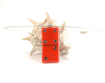 Bright red and black domino tile necklace, fused glass, game piece contemporary jewelry, 4 | 2 dominoe minimalist necklace