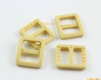 200 Pieces 10mm Khaki Plastic Tri-Glide Slider Adjustable Buckle for Bag Backpack Strap (RBCNO64)