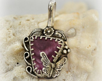Purple Oyster shell and sterling silver butterfly pendant.