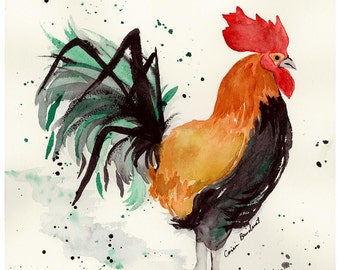 Watercolor PRINT of rooster, abstract rooster art, rooster home decor, rooster nursery print,  from original watercolor art, farm life 5x7