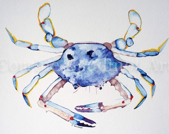 Nautical watercolor art, blue crab, watercolor print, 8x10, beach house art, seaside artwork, ocean life, powder blue