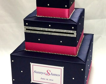 Navy Blue and Hot Pink/Fuchsia Wedding Card Box-lots of BLING-any colors