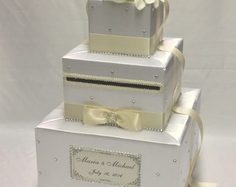 White and Ivory card Box- Rhinestones, White silk flowers