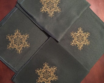 Embroidered Christmas Snowflake Cloth Napkins - set of 4