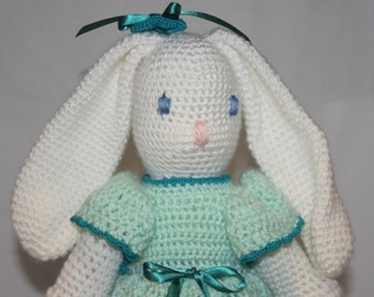 Crochet Bunny, Stuffed Bunny, Christmas Bunny, Plush Toy, Childs Bunny, Doll. Plush Toy, Softie, Hand Made, Crochet Toy, Crochet Animals