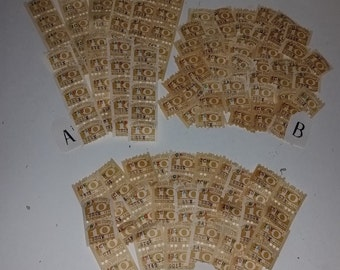 01 Vintage paper supplies Gold Bond savings trading stamps 50 golden yellow color choice of strip or single altered art scrap