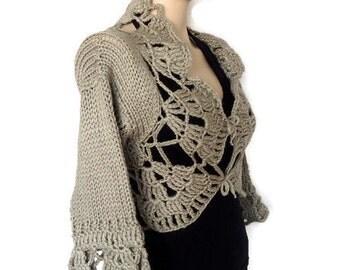 S M  Crochet and Knit Shrug Bolero Half Sleeve Brown Bridal Shrug Bolero Jacket Wedding Cardigan .