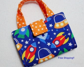 Space Ship Print Crayon Wallet. Free USPS First Class Shipping/ Ready to ship.