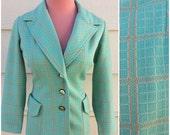 Mint green with camel plaid pattern 60s mod tailored blazer jacket size M-L